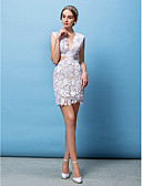 cheap Wedding Dresses-Sheath / Column V Neck Short / Mini Lace Made-To-Measure Wedding Dresses with Appliques by LAN TING BRIDE® / See-Through