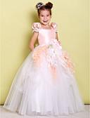 Χαμηλού Κόστους Λουλουδάτα φορέματα για κορίτσια-Βραδινή τουαλέτα Μακρύ Φόρεμα για Κοριτσάκι Λουλουδιών - Ταφτάς / Τούλι Κοντομάνικο Τετράγωνη Λαιμόκοψη με Φιόγκος(οι) / Λουλούδι με LAN TING BRIDE®