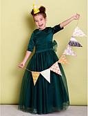 זול שמלות לילדות פרחים-גזרת A עד הריצפה שמלה לנערת הפרחים - סאטן / טול חצי שרוול עם תכשיטים עם פפיון(ים) / סרט על ידי LAN TING BRIDE®