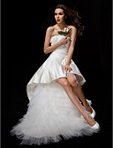cheap Wedding Dresses-Ball Gown Strapless Asymmetrical Satin / Tulle Made-To-Measure Wedding Dresses with Appliques / Sash / Ribbon / Flower by LAN TING BRIDE® / Little White Dress