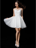 preiswerte Hochzeitskleider-A-Linie / Ballkleid Illusionsausschnitt Kurz / Mini Tüll Maßgeschneiderte Brautkleider mit Perlenstickerei / Applikationen / Knopf durch