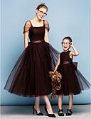 preiswerte Cocktailkleider-Prinzessin Quadratischer Ausschnitt Tee-Länge Tüll Elegant Abiball / Formeller Abend Kleid mit Schleife(n) / Gerafft durch TS Couture®