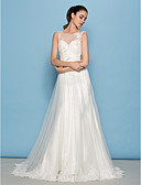cheap Wedding Dresses-A-Line Scoop Neck Court Train Tulle Made-To-Measure Wedding Dresses with by LAN TING BRIDE®