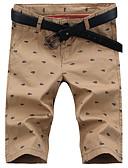 お買い得  メンズパンツ-男性用 クラシック・タイムレス ショーツ パンツ - プリント / 純色 ホワイト