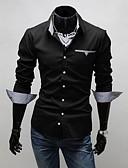 baratos Camisas Masculinas-Masculino Camisa Casual / Escritório / Formal Listrado / Cor Solida Manga Comprida Algodão Preto / Vermelho / Branco