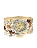 cheap Quartz Watches-Women's Wrist Watch Imitation Diamond Alloy Band Flower / Bangle / Fashion Gold