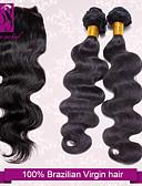 hesapli Buz Pateni Elbiseleri-Düz Brezilya Saçı Vücut Dalgası / Klasik Virgin Saç Kapanması Saç Atkı İnsan saç örgüleri İnsan Saç Uzantıları