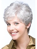 cheap Women's Hats-Synthetic Wig Curly Pixie Cut / With Bangs Synthetic Hair Side Part / Glueless White Wig Women's Short Capless Grey