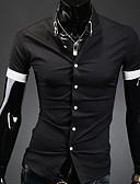 baratos Camisas Masculinas-Masculino Camisa Casual / Escritório / Formal Cor Solida Manga Curta Poliéster Preto / Branco