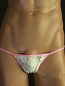 cheap Men's Exotic Underwear-Men's Lace G-string Underwear Solid Colored