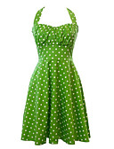 זול מלכת הוינטאג'-בגדי ריקוד נשים וינטאג' כותנה מכנסיים - מנוקד קפלים ירוק / Party / קולר