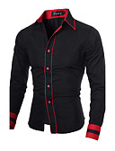 cheap Men's Shirts-Men's Work Plus Size Cotton Slim Shirt - Solid Colored Black & Red, Basic Spread Collar / Long Sleeve