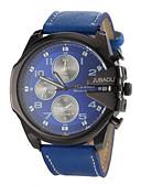 baratos Quartz-JUBAOLI Homens Relógio Militar Relógio de Pulso Quartzo Relógio Casual Couro Banda Analógico Amuleto Preta / Branco / Azul - Preto Vermelho Azul