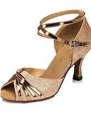 abordables Vestidos de Madrina-Mujer Zapatos de Baile Latino / Salón Semicuero Sandalia Hebilla Tacón Carrete Personalizables Zapatos de baile Plata / Oro / Morado / Niños / Interior / Entrenamiento / Profesional