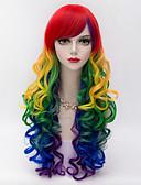 preiswerte Exotische Herrenunterwäsche-Synthetische Perücken Kinky Curly Mit Pony Synthetische Haare Rot Perücke Damen Lang Kappenlos Rot
