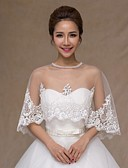 cheap Wedding Wraps-Sleeveless Lace Wedding Party Evening Casual Office & Career Wedding  Wraps With Lace Capelets