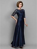 cheap Mother of the Bride Dresses-A-Line / Sheath / Column Bateau Neck Floor Length Lace / Taffeta Mother of the Bride Dress with Beading / Lace by LAN TING BRIDE® / See Through