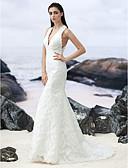 ieftine Rochii de Mireasă-Trompetă / Sirenă În V Mătura / Trenă Dantelă Made-To-Measure rochii de mireasa cu de LAN TING BRIDE®