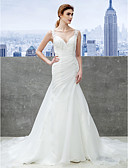 cheap Wedding Dresses-Mermaid / Trumpet Strap Chapel Train Organza Made-To-Measure Wedding Dresses with Appliques by LAN TING BRIDE® / Open Back