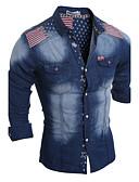 رخيصةأون معاطف و معاطف مطر رجالي-رجالي قميص ياقة كلاسيكية ألوان متناوبة / كم طويل