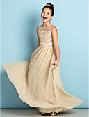 cheap Prom Dresses-A-Line Scoop Neck Floor Length Chiffon / Lace Junior Bridesmaid Dress with Lace by LAN TING BRIDE® / Natural / Mini Me