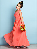 billige Aftenkjoler-A-linje Enskuldret Ankellang Chiffon Junior brudepikekjole med Sidedrapering av LAN TING BRIDE® / Naturlig / Mini-meg