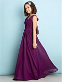 hesapli Çiçekçi Kız Elbiseleri-A-Şekilli V Yaka Yere Kadar Şifon Haç ile Çocuk Nedime Elbisesi tarafından LAN TING BRIDE® / Doğal / Mini Me