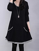 cheap Women's Dresses-Women's Plus Size Street chic Loose Dress - Solid Colored Black / Winter