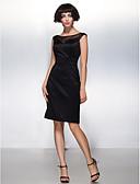 preiswerte Cocktailkleider-Eng anliegend Illusionsausschnitt Knie-Länge Satin Kleines Schwarzes Kleid Cocktailparty Kleid mit Plissee durch TS Couture®