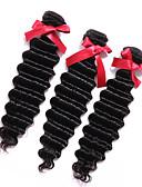 baratos Camisolas e Pijamas Femininos-3 pacotes Cabelo Malaio Onda Profunda Cabelo Humano Cabelo Humano Ondulado Tramas de cabelo humano Extensões de cabelo humano