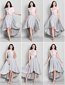 preiswerte Abendkleider-A-Linie V-Ausschnitt Asymmetrisch Jersey Brautjungfernkleid mit Überkreuzte Rüschen durch LAN TING BRIDE®
