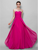 cheap Bridesmaid Dresses-A-Line Sweetheart Neckline Floor Length Chiffon Bridesmaid Dress with Criss Cross by LAN TING BRIDE®