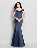 cheap Ice Skating Dresses , Pants & Jackets-Mermaid / Trumpet V Neck Floor Length Satin Bridesmaid Dress with Pleats by LAN TING BRIDE® / Open Back