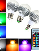 halpa Iltapuvut-YWXLIGHT® 3kpl 5 W 540 lm E14 / GU10 / B22 LED-pallolamput A60(A19) 1 LED-helmet Teho-LED Himmennettävissä / Kauko-ohjattava / Koristeltu RGB 85-265 V / 1 kpl / RoHs