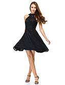 cheap Prom Dresses-A-Line / Princess / Fit & Flare Illusion Neck Knee Length All Over Lace Little Black Dress Cocktail Party / Prom Dress with Lace by TS Couture®