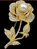 ieftine Rochii Casual-Pentru femei Broșe - Perle, Zirconiu Cubic, Placat Cu Aur Roz Trandafiri, Floare Lux, Petrecere, Modă Broșă Auriu Pentru Nuntă / Petrecere / Ocazie specială / Diamante Artificiale