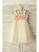 cheap Flower Girl Dresses-Sheath / Column Knee Length Flower Girl Dress - Tulle Sleeveless Straps with Flower by LAN TING Express