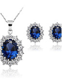 cheap Kids' Watches-Women's Synthetic Sapphire Jewelry Set - Fashion Include Blue For Wedding / Party / Daily / Earrings / Necklace / Diamond
