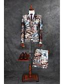 preiswerte Anzüge-Kaffee Muster Reguläre Passform Polyester Anzug - Fallendes Revers Einreiher - 1 Knopf