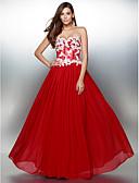 preiswerte Abendkleider-A-Linie Sweetheart Boden-Länge Chiffon Muster Abiball / Formeller Abend Kleid mit Applikationen durch TS Couture®