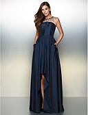 preiswerte Abendkleider-A-Linie Illusionsausschnitt Asymmetrisch Taft High Low / See Through Abiball / Formeller Abend Kleid mit Perlenstickerei / Plissee durch TS Couture®