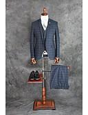 お買い得  タキシード-インクブルー チェック/ギンガム テイラーフィット コットン混 スーツ - ノッチドラペル シングルブレスト 一つボタン