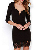 cheap Women's Dresses-Women's Bodycon Dress - Solid Colored, Lace V Neck