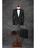 お買い得  スーツ-スーツ テイラーフィット ノッチドラペル シングルブレスト 一つボタン コットン ソリッド 2点 ダークグレー ストレートフラップ ツータック ダークグレー ツータック ボタン / ポケット