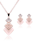 cheap Women's T-shirts-Women's Crystal Jewelry Set - Cubic Zirconia, Rhinestone, Rose Gold Plated Party, Simple Style, Elegant Include Stud Earrings / Pendant Necklace Gold For Party / Anniversary / Birthday
