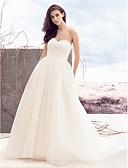 billige Bryllupskjoler-A-linje Kjære Hoffslep Tyll Made-To-Measure Brudekjoler med Perlearbeid / Kryssdrapering av LAN TING BRIDE®