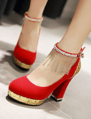 cheap Wedding Wraps-Women's Shoes Leatherette Spring / Summer Chunky Heel Tassel Black / Red / Blue / Wedding
