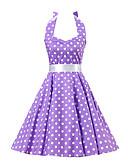 hesapli Kadın Elbiseleri-Kadın's Vintage Pamuklu A Şekilli Elbise - Yuvarlak Noktalı, Fiyonklar Boyundan Bağlamalı Diz-boyu / Arkasız
