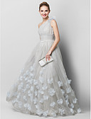 abordables Vestidos de Noche-Corte en A Un Hombro Larga Tul Fiesta de baile / Evento Formal Vestido con Apliques / Fruncido por TS Couture®