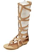 baratos Corpetes-Mulheres Sapatos Courino Verão Gladiador Salto Baixo Preto / Dourado / Com Laço